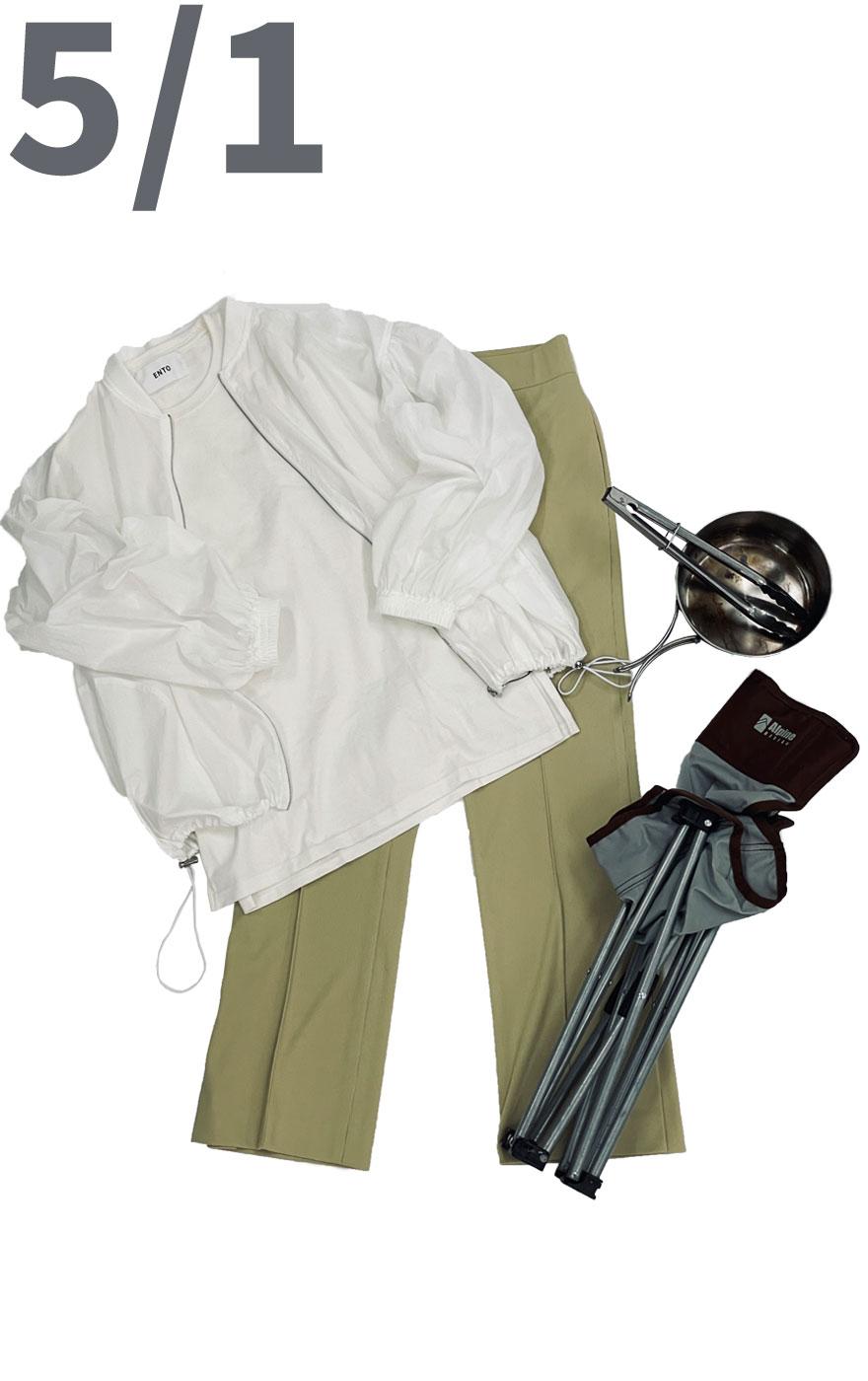 アウトドアにも対応できる楽ちんコーディネート。コットン100%素材のカットソーに履き心地抜群のイエローカラーのリブパンツを合わせて。4月5月の気温差にも対応できるように羽織を忘れずに。