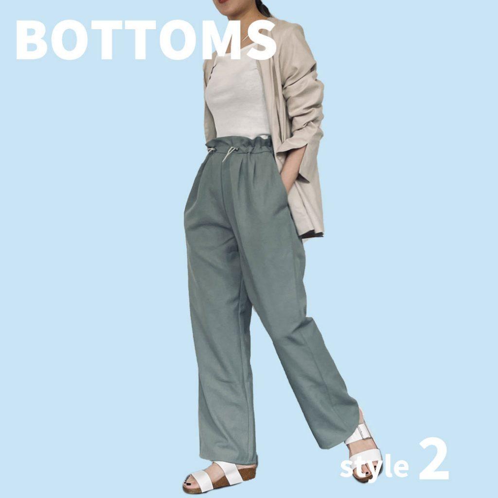 大人の上品な配色コーデは、モス×ベージュ×ホワイト合わせで淡色まとめをしたのがポイント◎リラクシーなパンツにコンパクトなトップスを合わせてジャケットを羽織ることで、きれいめカジュア ルなスタイルに。