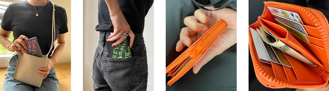 ミニバッグや、おしりのポケットに楽々入る、小さな財布。カード入れは6つ。ラウンドしたL字のファスナーがストレスなく開閉できます。