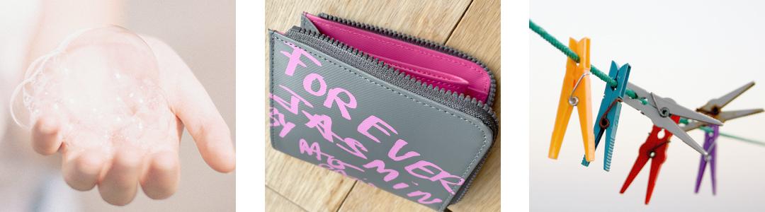 気になるときに中性洗剤で拭き取りできる、ポリエステル素材の財布。