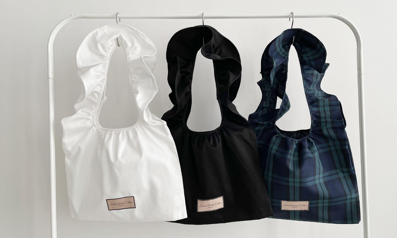 白、黒、タータンの3色あるフリショルアップサイクルバッグ