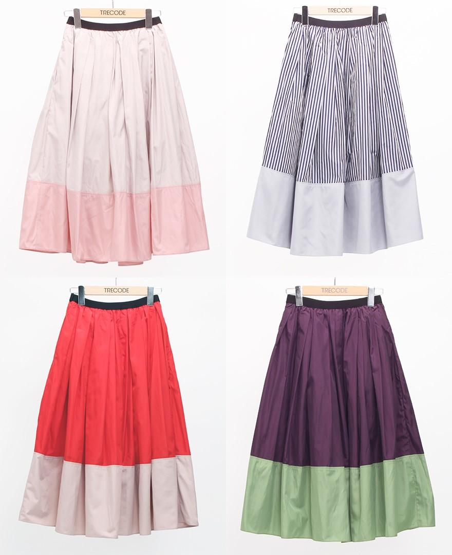 神戸・山の手 だんだんエシカルスカート ミモレ丈。アーモンドピンク、ブルーストライプ、レッドピンク、パープルグリーン。
