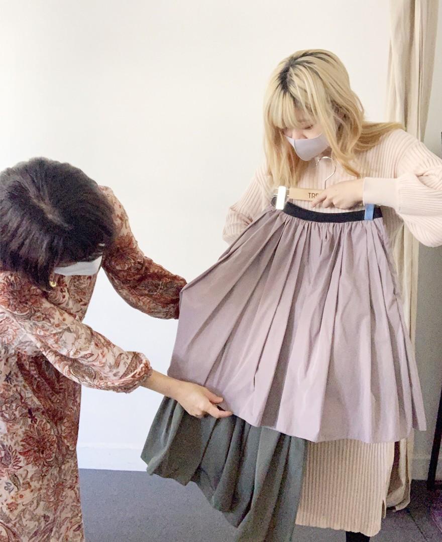 神戸・山の手 だんだんエシカルスカート ミモレ丈。アップサイクルでエシカルに。スカート作成。