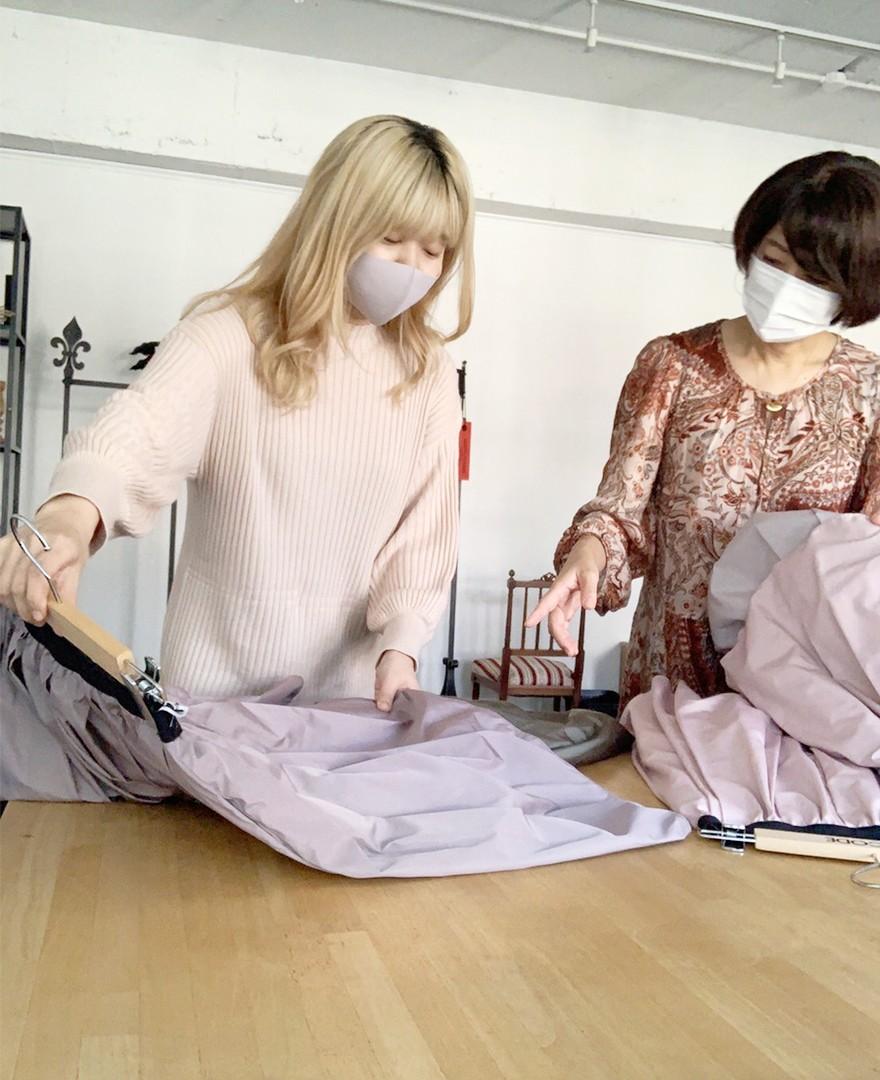 神戸・山の手 だんだんエシカルスカート ミモレ丈 。アップサイクルでエシカルに。スカート作成。