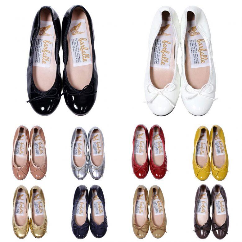 履き口がゴム仕様のバレエシューズ。カラー展開豊富。ブラック、ホワイト、ピンク、シルバー、レッド、イエロー、ゴールド。ネイビー、ベージュ、ブラウン