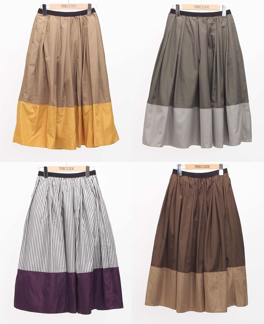 神戸・山の手 だんだんエシカルスカート ミモレ丈スカート。キャメル、カーキ、Sブラック、ブラウンカラー展開9色。