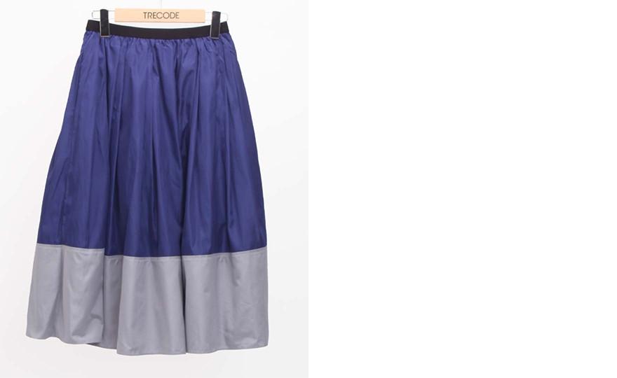 神戸・山の手 だんだんエシカルスカート ミモレ丈。ネイビーブルースカート。