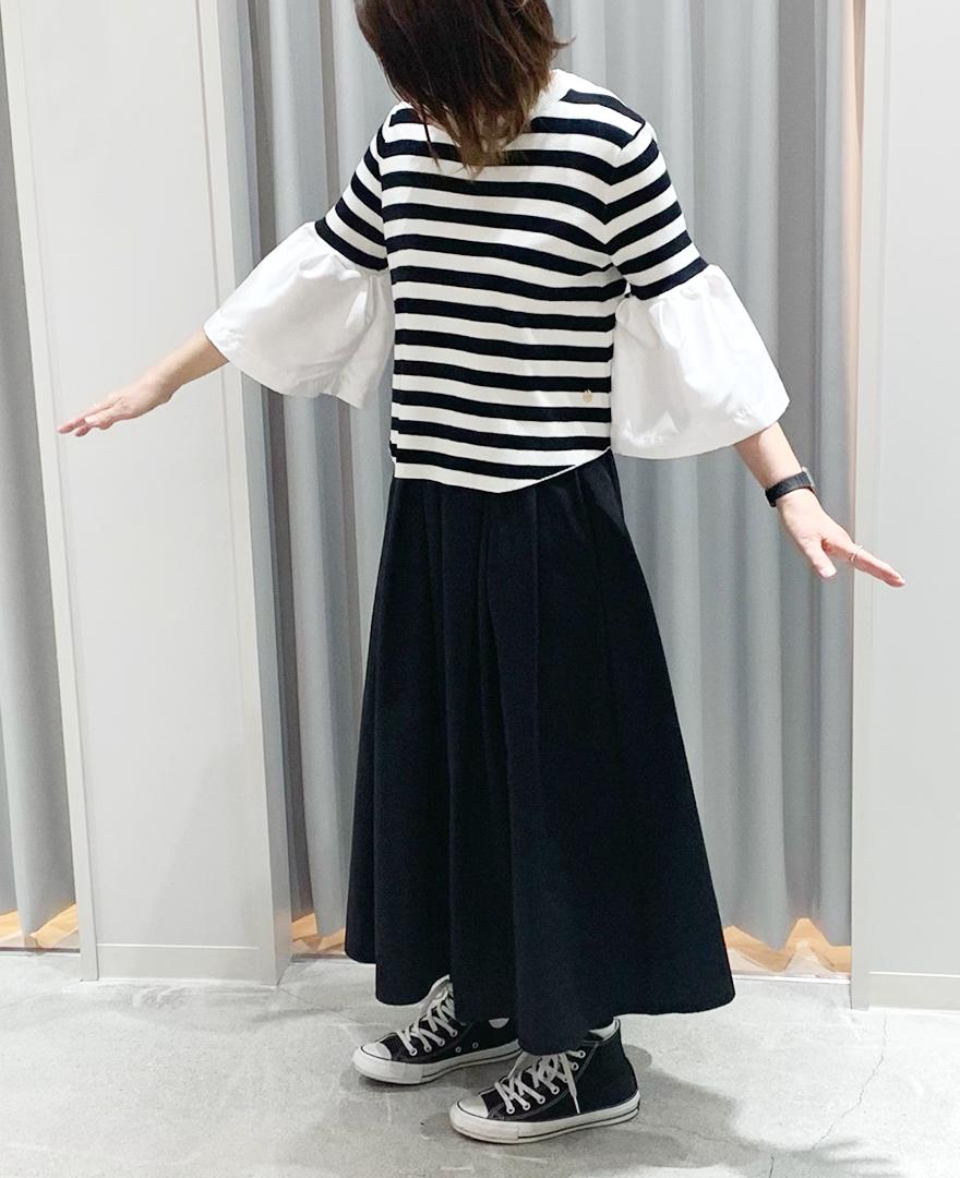 ブラックボーダーのラッパ袖プルオーバー 神戸山の手スカート マキシ丈ブラック ブラックのコンバース