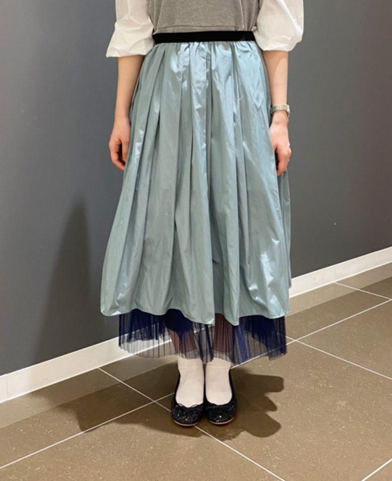 ミモレ丈の山の手スカートのモス 神戸・山の手フリルチュールペチコートのネイビー