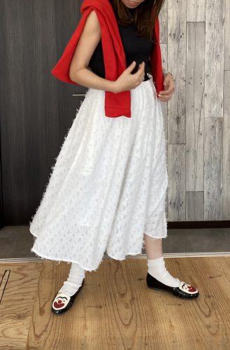 カットフェザースカート ホワイト