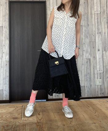 カットフェザースカート ブラック