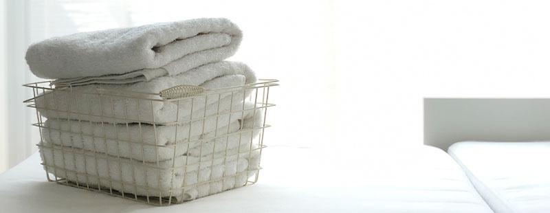 洗いたての白いバスタオル