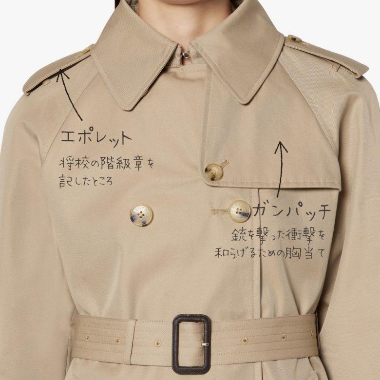 伝統的なトレンチコートには軍服だったころのなごりがあちこちに残っていて、今ではデザインの一部として取り入れられています。