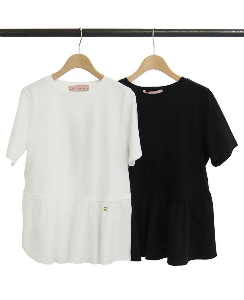 ベーシックな色が使いやすい半袖ペプラムカットソーの白と黒